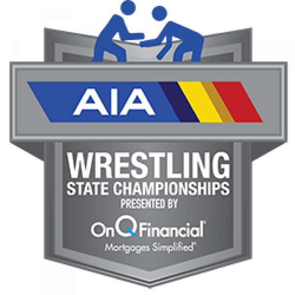 AIA Wrestling State Championships Logo - Presented By OnQ Financial